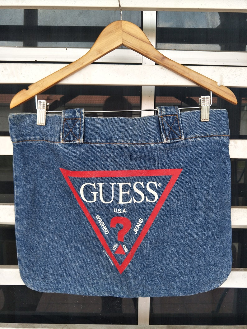 498ce298c251 Vintage 90s Guess Jeans Tote Bag Hypebeast Style Asap Rocky / | Etsy