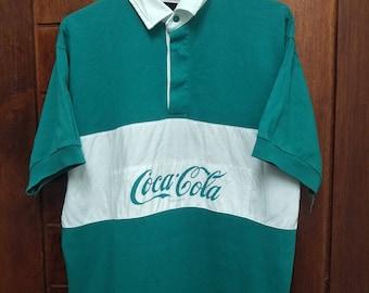 Vintage 90's COCA-COLA polo shirt spell out streetwear hip hop big logo