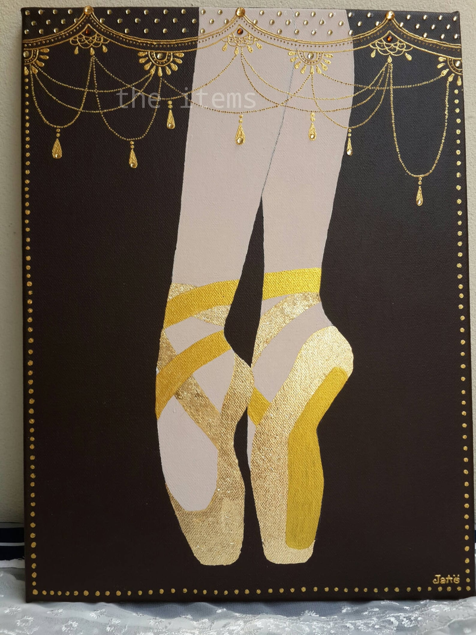 ballet dance original acrylic gold plate mix media painting by jaao