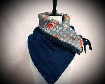 5de9cab772d3 Col snood châle fausse fourrure bleue doublé tissu coton carreaux gris  fleuri fleur ruban triangle hiver automne froid snood accessoire mode