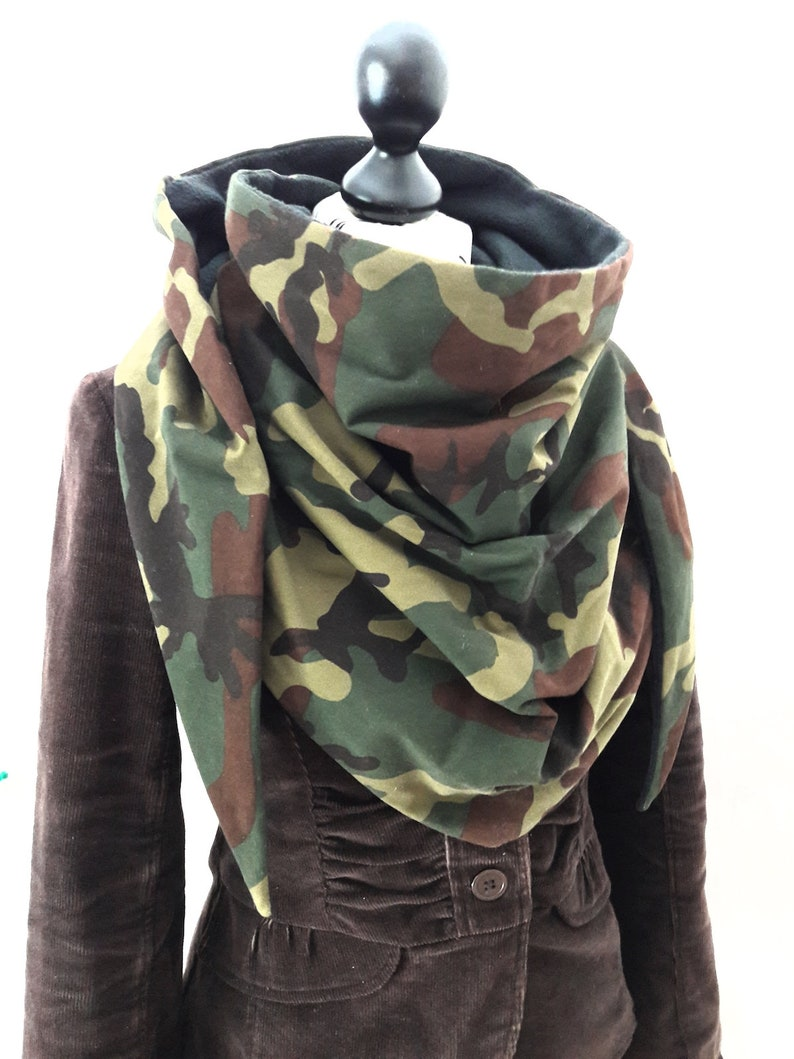 83ec3f1eb62 Chèche vert marron doublé polaire noir foulard châle écharpe