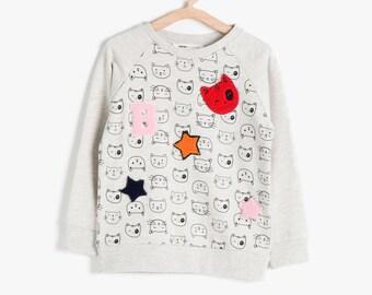 Baby Girl Sweatshirt, Girls Sweatshirt, Crew Neck, Long Sleeve Sweat Shirt