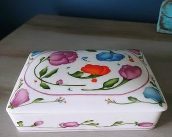 Vintage Horchow Porcelain Two Deck Card Trinket Dish Box