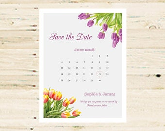 Personalised Save the Date Printable - Tulip Design