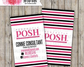 NEW LOGO Perfectly Posh Inspired Vertical Business Card
