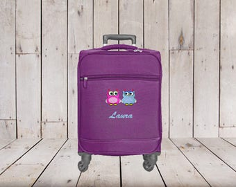 397b3bb584b3 Kids Small Spinner Carry-on Luggage Personalized with Girl Embroidery Images