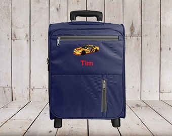 Kids 2 Wheel Rolling Carry-on Luggage Personalized with Car Embroidery 11179c84165ae