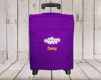 Kids 2 Wheel Rolling Carry-on Luggage Personalized with Flower Embroidery