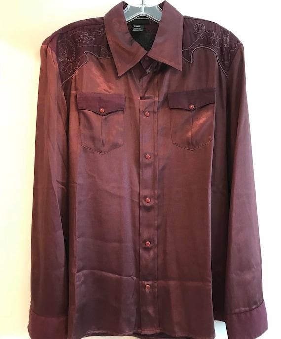 Vintage Diesel Burgundy Satin Western Shirt