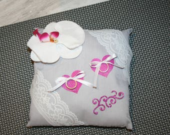 wedding ring cushion, romantic wedding, white and grey hearts Orchid fuchsia lace
