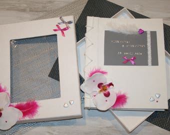 """"""""""" wedding guestbook, grey white fuchsia, Orchid, feather """"parchment"""" customizable"""