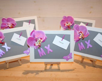 wedding, table plan, place brand table easel, gray, fuchsia, Orchid, customizable