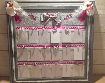 wedding table plan, Peel for pictures, fuchsia, Orchid white and grey feathers