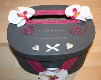 urn romantic wedding or anniversary oval grey and Fuchsia Orchid