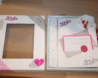 wedding guestbook, grey white fuchsia, Orchid, decorated, envelopes, cards, personalized