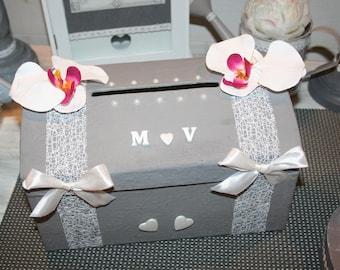 romantic wedding urn grey white and Fuchsia Orchid heart