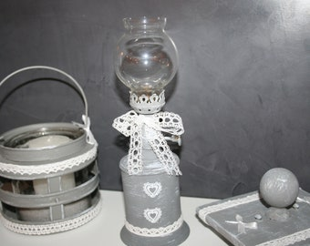 old shabby grey and white oil lamp
