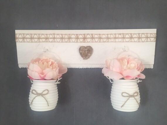 vases champêtres à suspendre coeur