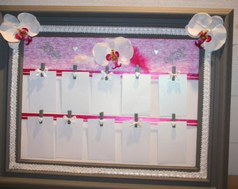 wedding table plan, Pelé nickname pictures, fuchsia, Orchid white and grey feathers