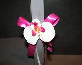 end of the bench, romantic wedding Chair decoration, grey fuchsia Orchid