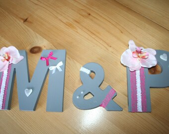 LETTERS romantic wedding, wood, fuchsia, orchid pink and gray tones to lay or hang