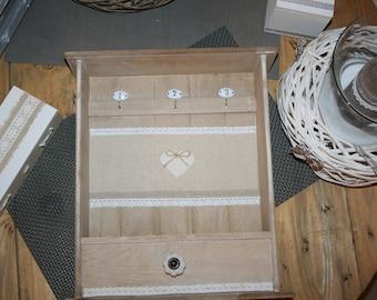 key box box wood linen lace heart