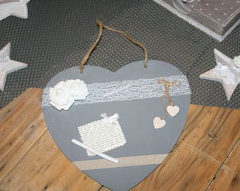 heart hanging taupe gray and white gift?