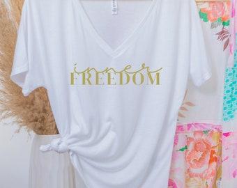 Inner Freedom Ladies' Slouchy V-Neck T-Shirt