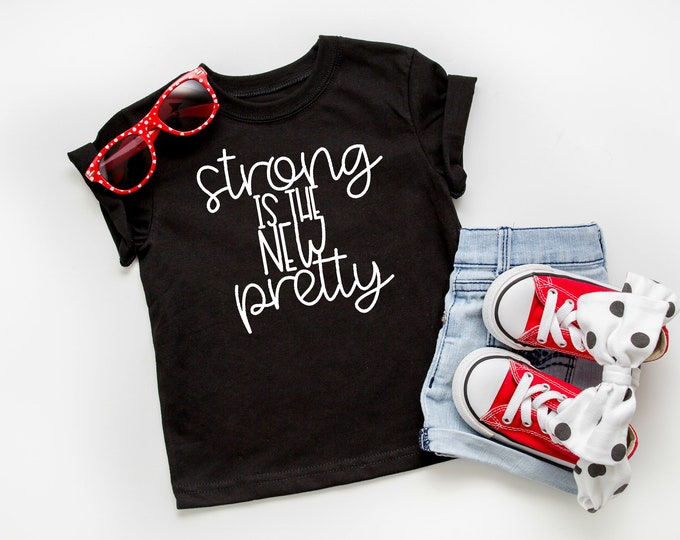 Strong is the New Pretty, Toddler Triblend Short-Sleeve T-Shirt, Inspirational Tees, Strong Like a Girl, Toddlers Tees