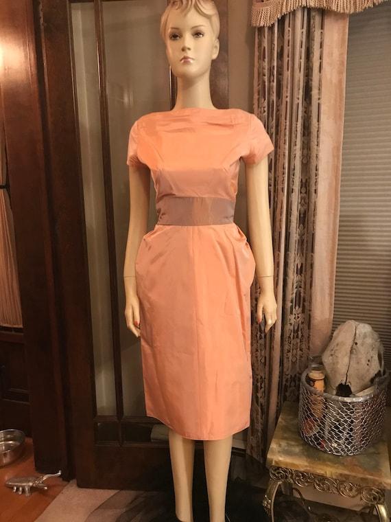 Peachy vintage taffeta dress