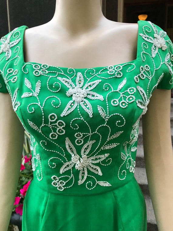 Gorgeous Vintage Green Beaded Dress