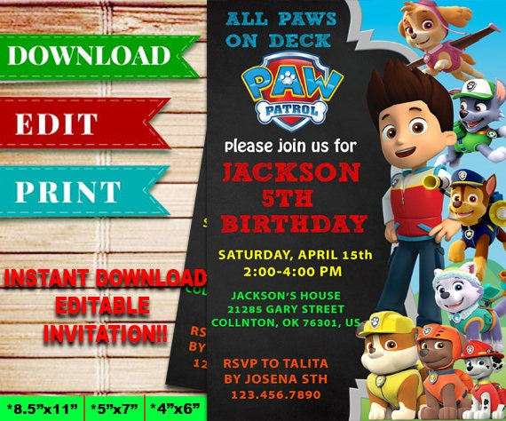 Paw Patrol Birthday Invitation Disney Rider Invites Editable PDF