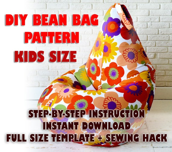Fabulous Kids Bean Bag Pattern Sewing Chair Pattern Diy Teens Pillow Toddler Baby Pets Lazy Sofa Tutorial Bean Bag Cover Pattern Pdf Instant Download Inzonedesignstudio Interior Chair Design Inzonedesignstudiocom