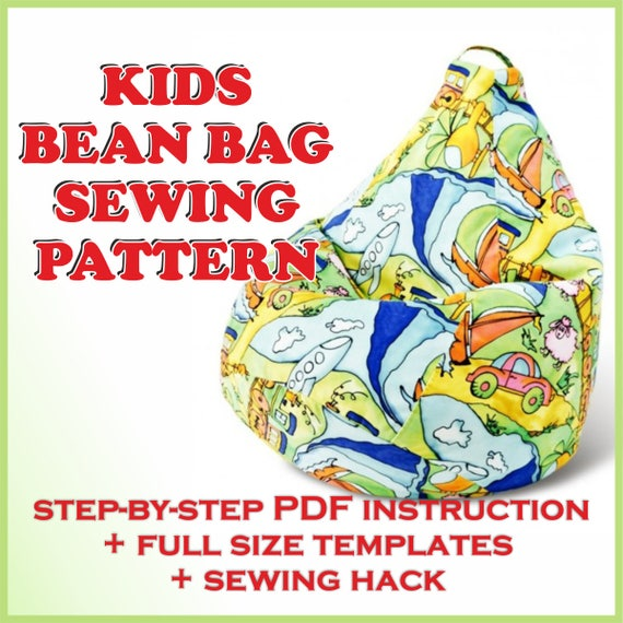 Kids Bean Bag Cover Pattern Pdf Full Size Sewing Template