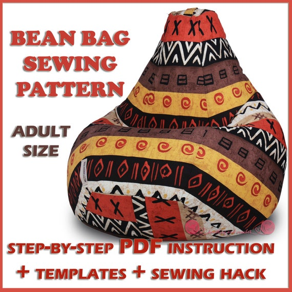 Fabulous Adult Bean Bag Chair Sewing Pattern Full Size Template Bean Bag Cover Pdf Tutorial Diy Beanbag Lazy Sofa Toddler Floor Cushion Teen Pillow Frankydiablos Diy Chair Ideas Frankydiabloscom