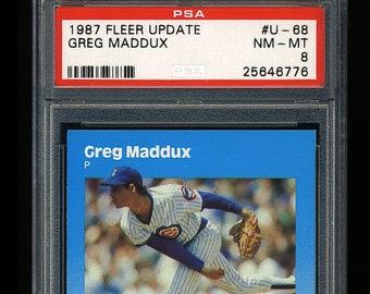 54ceb2e6b034a Graded Greg Maddux Rookie PSA 8 NM MT 1987 Fleer Update baseball card -  Chicago Cubs Atlanta Braves Hall of Fame