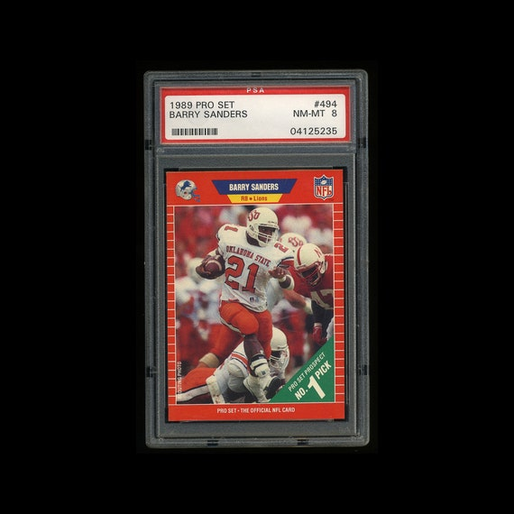 PSA 8 Barry Sanders Rookie 1989 Pro Set Football Card Detroit Lions Hall Of Famer