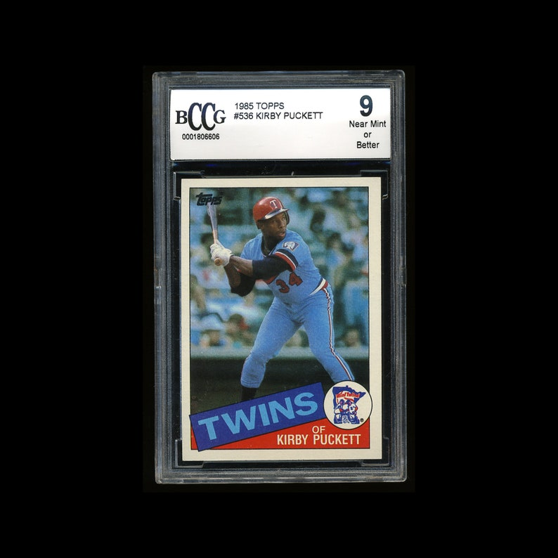 Graded Kirby Puckett Rookie 1985 Topps Near Mint 9 By Beckett Bccg Hall Of Fame Minnesota Twins Baseball Card