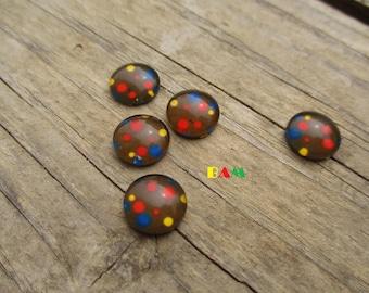 Set of 2 khaki polka dot multicolored 12 mm cabochon