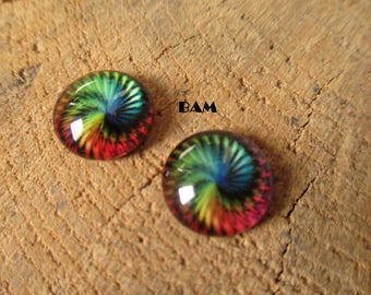 Set of 2 cabochon 12 mm Rainbow swirl