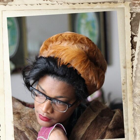Vintage Feathered Pillbox hat