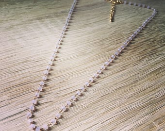 JEANNE necklace with translucent pink faceted beads