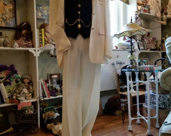 Ralph Lauen Black Label: Gorgeous All White Pant Suit with Navy vest.