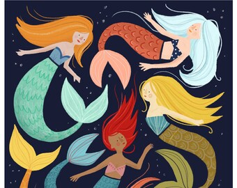 Magical mermaids, A4 childrens art print