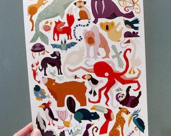 Illustrated Amazing Animals children's art print. Bedroom, nursery wall art decor. A3 A4 animal print