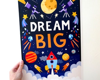Illustrated 'Dream Big' inspirational children's quote print. Bedroom, nursery wall art decor. A3 space rocket print