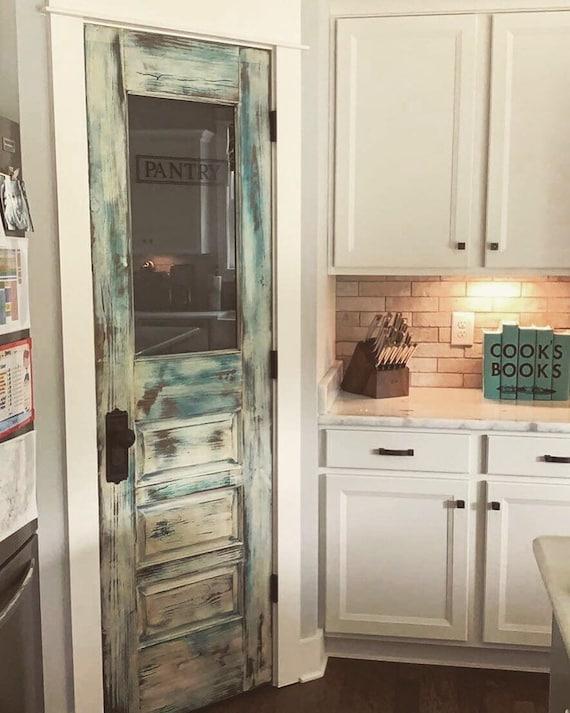 Custom Three Panel Distressed Pantry Door Custom Pantry Door, Glass Pantry  Door, Kitchen Pantry Door, Frosted Glass Door, Vintage Pantry Doo