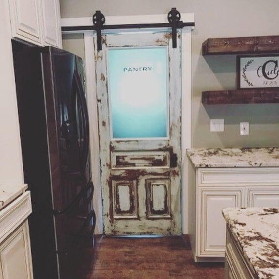 Custom Distressed Pantry Door Custom Pantry Door, Glass Pantry Door,  Kitchen Pantry Door, Frosted Glass Door, Vintage Pantry Door, Kitchen