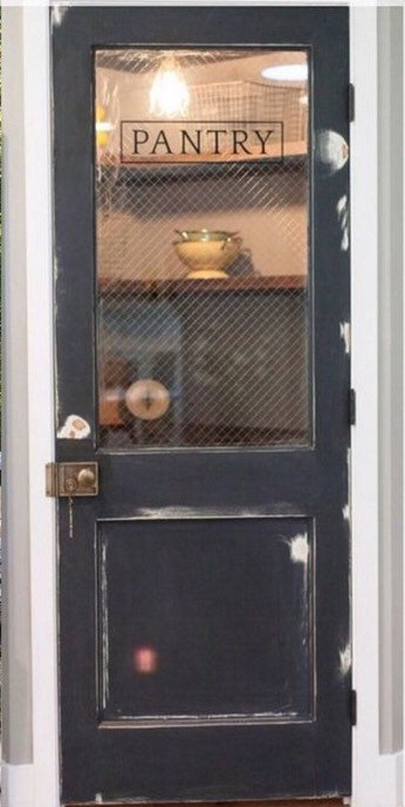 Vintage Pantry Door With Steel Grid Safety Glass Custom Pantry Door, Glass  Pantry Door, Kitchen Pantry, Vintage Pantry Door, Kitchen Door,