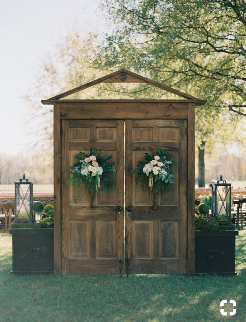 Wedding Doors distressed wedding bride photo backdrop image 0